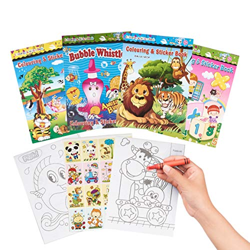 THE TWIDDLERS 24 Mini Libri da Colorare con Adesivi, Regalini per Bambini