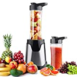 Personal portable Blender Single Serve Blender for Smoothies and Shakes, Small Juice Blender with 2 Blender Cups and 2 flip drinking lids 300W