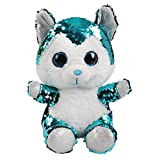 Athoinsu 8\ Flip Sequin Stuffed Husky Dog Soft Plush Toy Sparkle Puppy with Glitter Reversible Sequins Ideal Birthday for Toddler Kids, 8''