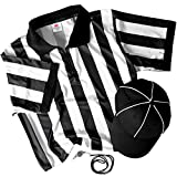 Referee Necessities Men's Bundle - Black & White Striped Official Jersey, Umpire Hat, & Stainless Steel Ref Pea Whistle with Lanyard - Pro/Amateur Team Sports Costume Apparel Kit for Men (Medium)