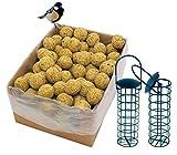 dobar Lot de 100 Boules de Graisse avec Filet - 2 Supports de Boules de Graisse à Suspendre - Nourriture pour Oiseaux Sauvages Toute l'année - 1 Paquet (1 x 9 kg)