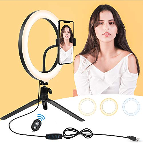 10' Selfie Ring Light with Stand & Cell Phone Holder, Selfie Light for iPhone Dimmable LED Ring Light for Live Stream/Makeup/YouTube Video/Group Selife, Compatible with iPhone Xs Max XR