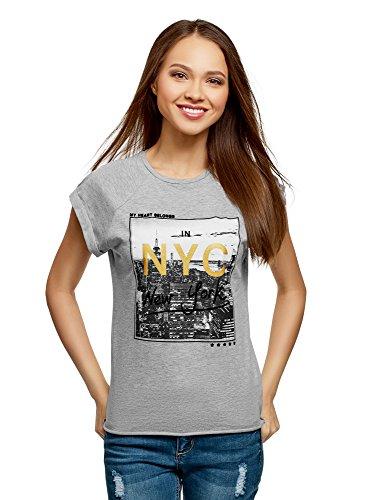 oodji Ultra Mujer Camiseta de Algodón con Estampado Urbano, Gris, ES 40 / M
