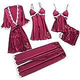 Susenstone 5Pc sous-VêTements Femme Lingerie Sexy Coquine Grand Taille Nightwear Babydoll Dentelle...