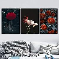 赤い傘のバラの女性のキャンバスの絵画レトロな雨の花の壁アート写真北欧のポスターとリビングルームのプリント| 50x70cmx3Pcs /フレームなし