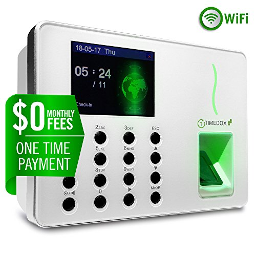 Timedox Silver Snow, Wi-Fi Biometric Fingerprint Time Clock, $0 No Monthly fees | Data Download Automatically, 2 Yr. Warranty, Unlimited Backup