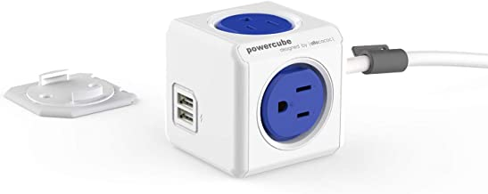 Allocacoc, PowerCube |ExtendedUSB|, 4 outlets, 2 USB Ports, 5 feet cable, Mounting dock, Surge Protection, Childproof Sockets, ETL Certified (Blue)