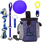 Puppy Training Kit 8 Pc Dog Train Equipment Set - Puppy Doorbells,Dog Waist Belt Treat Pouch,Whistle,Clicker,Poop Bag Dispenser,Waste Bag, Dog Disc, Chewing Toy for House/Outdoor Training Playing