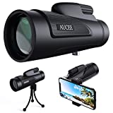 12x50 Monocular Telescope for Adults, AUCEE HD High Power Bak4 Prism FMC Monocular Compact Waterproof Monocular with Smartphone Adapter Tripod for Bird Watching Hunting Hiking Camping Travelling