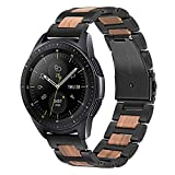 TRUMiRR per Cinturino Orologio Samsung Galaxy Watch 42mm, Bracciale 20mm in Acciaio Inox e Legno...