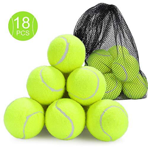 Fostoy Pelotas de Tenis, 18 PCS Pelotas de Práctica de Tenis Duraderas Pelotas Bote para Perros con Bolsa de Transporte Malla para Adultos Niños Mascotas Entrenamiento ⭐