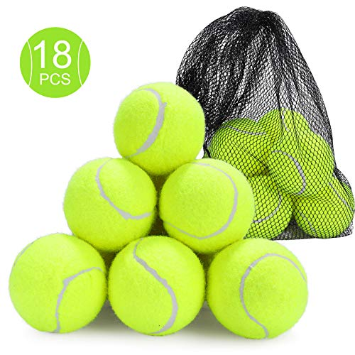 Fostoy Tennis Balls, 18 Pack Durable Tennis Practise Balls Cricket Dog Toy Balls with Mesh Carrying Bag for Adults Children Exercise Pets Training