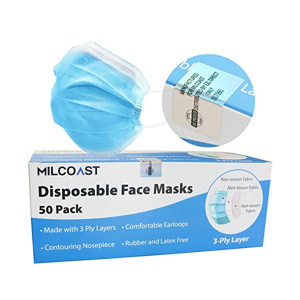 Milcoast 3 Ply Disposable Face Masks