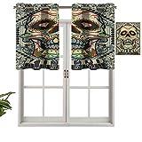 Hiiiman Cenefa térmica aislada para ventana, diseño de calaveras, marco de día de los muertos, diseño gótico vintage, juego de 2, 42 x 24 pulgadas para habitación de niños