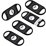 Black Plastic Guillotine Cigar Cutter Mini Cigar Cutter Portable Cigar Cutter Sstainless Steel Cigar Scissors (5PCS)