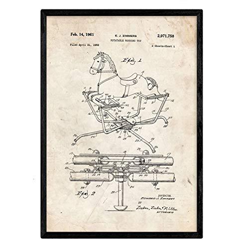 Nacnic Poster con Patente de Balancin Caballito. Lámina con
