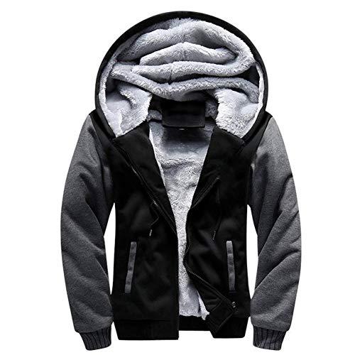 LBL Homme Hiver Chaud Sweats à Capuche Zippé Épaisse Veste de Manches Longues Manteau Noir L