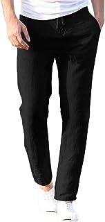MU2M Men Summer Solid Cotton Linen Elastic Waist Straight Leg Pants Trousers