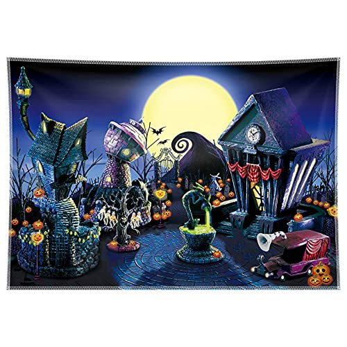 Allenjoy 10x8ft Nightmare Before Christmas Backdrop Halloween Pumpkin Jack Lantern Haunted House Photograhy Background Birthday Baby Shower Wedding Party Supplies Decoration Photo Booth