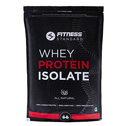 Fitness Standards Instantized Whey Protein Isolate 1 kg | 28.2g or min. 94% Protein, 7.1g BCAA, 0g Sugar, per serving | All Natural, No Additives, No Preservatives | Unflavored | 33 servings