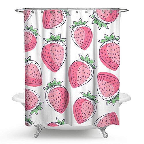 KISY süßer Erdbeer-Stoff Duschvorhang Cartoon Badezimmer Dekor beschwerter Duschvorhang für Badewanne Dusche 182,9 x 182,9 cm, Rosa & Weiß