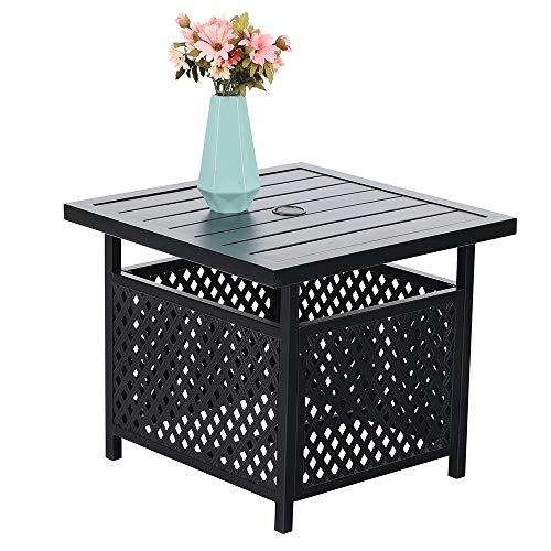 PHI VILLA 22'' x 22 '' Outdoor Umbrella Side Table Stand Patio Bistro Table with Umbrella Hole …