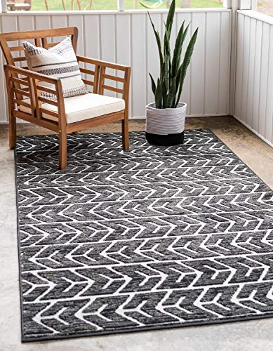 Unique Loom Sabrina Soto Outdoor Collection Striped Carved Geometric Southwestern Black Area Rug (9' 0 x 12' 0)