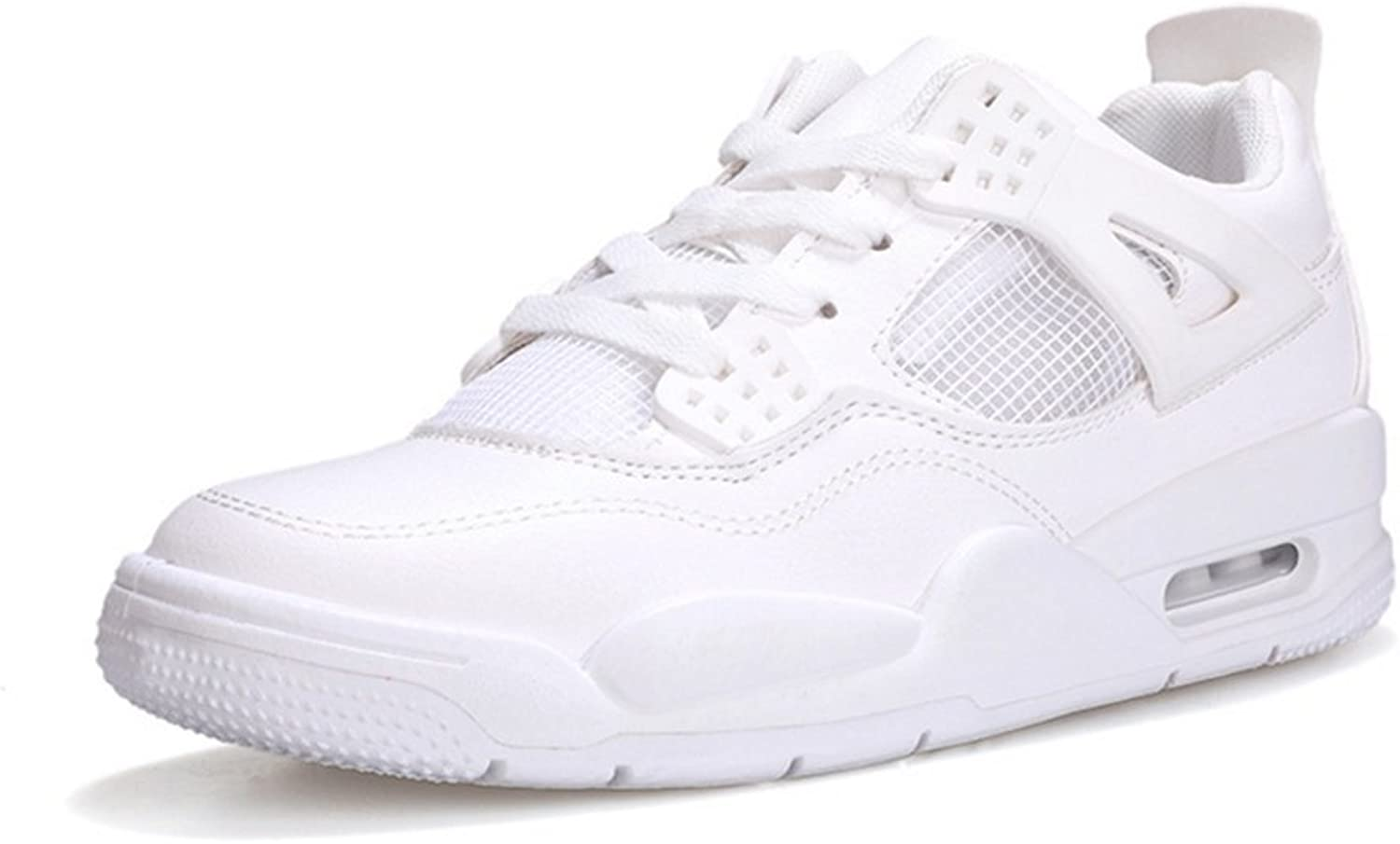 RENMEN Spring summer sports shoes men's thick-soled breathable white shoes air cushion casual shoes running men's shoes 39-43, white