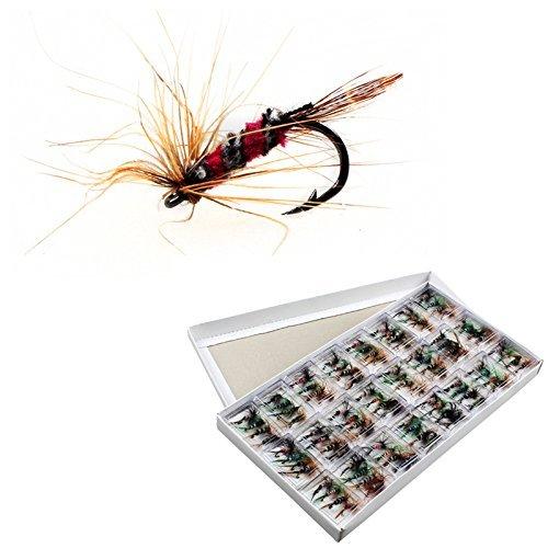 Juego de 96 anzuelos de pesca OriGlam, con mosca, para cebo de trucha, con caja