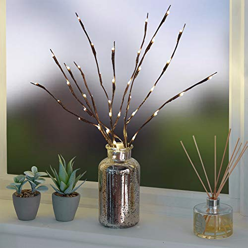 GloBrite 2 Pack Branch Lights - Led Branches Battery Powered Decorative Lights Tall Vase Filler Willow Twig Lighted Branch for Home Decoration Warm White 20 LED Lights (Warm White)