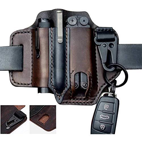 Multitool Schlüsselbund EDC Lederscheide, handgefertigte Taschen Organizer Tasche für Werkzeuge Scheide/Gürtelschlaufe Messerscheide/Taschenlampe Lederholster mit Schlüsselring (braun)