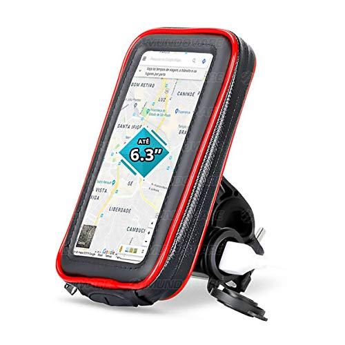 """Suporte para Celular até 6.3"""" para Guidão de Moto Case Impermeável com Carregador USB 2A Integrado Rotação 360º Exbom SP-CA34L Preto"""