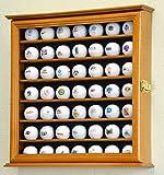 49 Golf Ball Display Case Cabinet Wall Rack Holder w/98% UV Protection Lockable -Oak