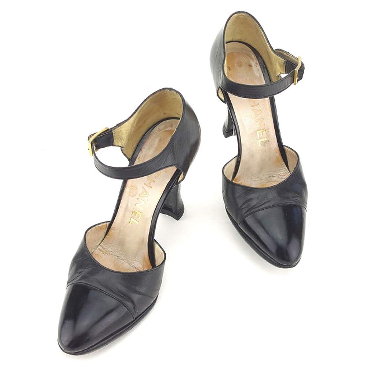 むしゃむしゃ伝染性亜熱帯[シャネル] パンプス シューズ 靴 ブラック #35 レディース 中古 T8145