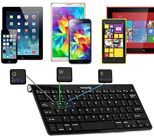 Navitech Black Wireless Multi OS Keyboard Compatible with All Android/Windows & iOS Tablets Including The ASUS - ZenPad Z8s - 7.9 Tablet | Asus Z580CA-1B023A ZenPad S 8.0 Z580CA 8-Inch
