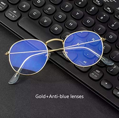Blue Block, blauw licht voor paraplu's met UV-bescherming, metalen frame, anti-blauwe lens - vintage bril  azul claro