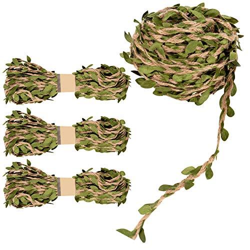 Blad slinger - 4 rollen muur opknoping kunstmatig jute wijnstokken planten groen, wijnstok lint, wijnstok touw voor krans, hoofdband, bruiloft, huis, jungle tuin partij decoraties 10 Meters (32.8 Feet) Groen
