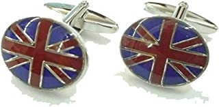 Mens Executive Cufflinks Flags Around the World Oval Union Jack British Uk Flag European Cuff Links
