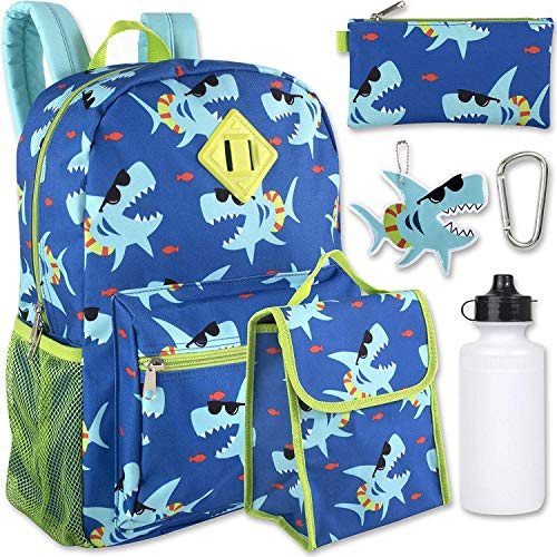 Boy's 6 in 1 Backpack Set With Lunch Bag, Pencil Case,...