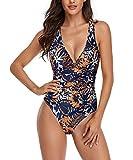 Spreadhoodie Costume Intero Donna Push Up Sexy V-Collo Costumi da Bagno Retro Apri Indietro Monokini Bikini L