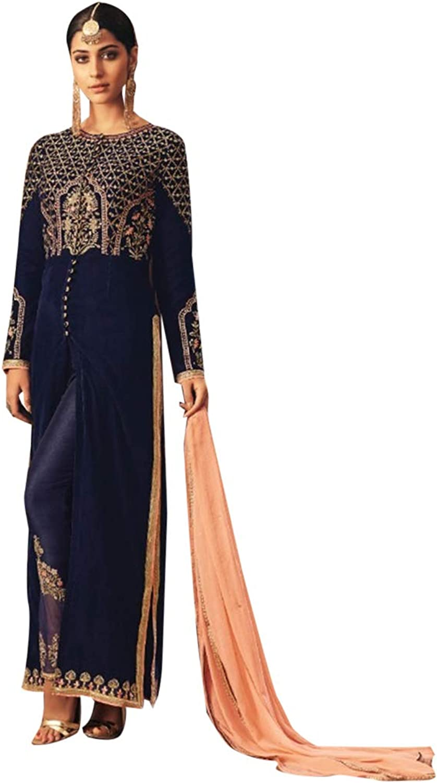 Indian Ethnic Navy bluee Straight Cut Salwar Kameez Suit Designer Hit Party Wear 7296