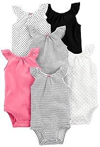 Simple Joys by Carter's - Body sin mangas para niña (6 unidades) ,Black, White Pink Ruffle ,0-3 Months