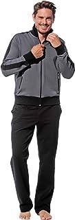 Morgenstern Heren huispak sportpak joggingpak set grijze jas en zwarte broek