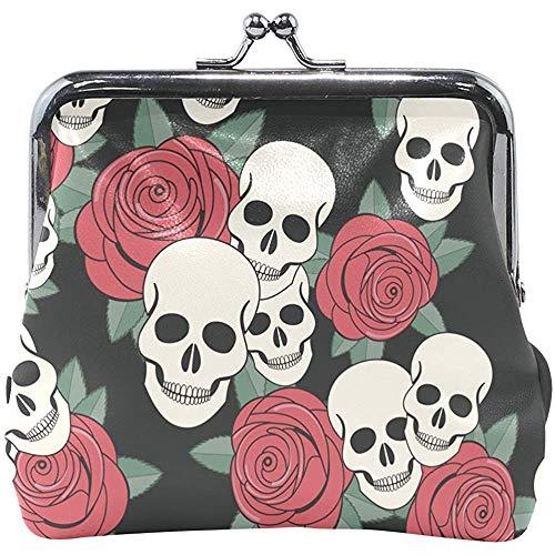 Glimlachende schedel kop rozenpatroon portemonnee damesportemonnee