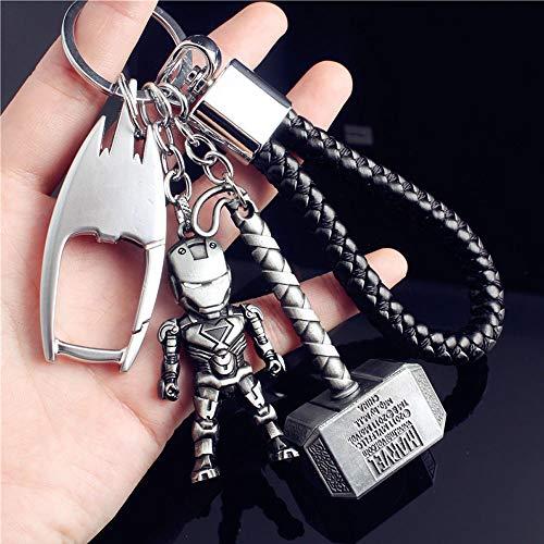 JLZK Avengers 4 Endgame Super héros Porte-clé avec Ironman Figure Thor Hammer breloque Porte-clé pour Les Fans de Marvel (Ironman et Marteau de Thor)