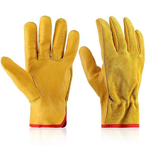 Garden Gloves Leather Gardening Gloves Thorn and Cutting Proof Work Garden Gloves (Medium)