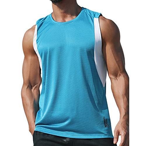 JEATHA Herren Tank Top Mesh Sport Weste Schnell Trocknend Unterhemd Ärmellos Shirts Rundhals Jersey Fitness Joggen Sommer Blau XXXL