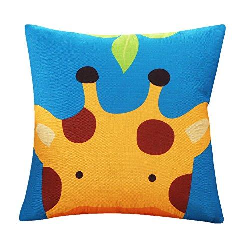 MF Colorful Lovely Cartoon Animal Printed Cushion Cover Linen Car Sofa Pillow Case Kids Room Decorative 45x45cm (Giraffe)