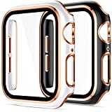 Charlam Compatible with Apple Watch Case 44mm SE Series 6 5 4 with Tempered Glass Screen Protector, 2 Pack Classy Slim Overall Guard Case Cover, Rose Gold Edge Black & Rose Gold Edge White Bumper