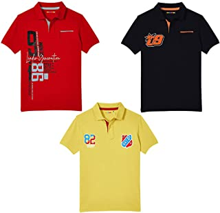 Hopscotch Baby Boys Cotton Short Sleeves Polo T-Shirt Pack of 3 in Multi Color
